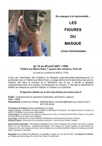 """Stage """"Du masque à la marionnette... Les Figures du Masque"""" au TMN du 12 au 30 avril 2021 @ TMN"""